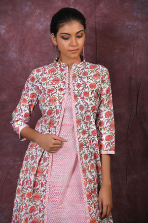 Peach and pink floral block printed flared kurta with pants