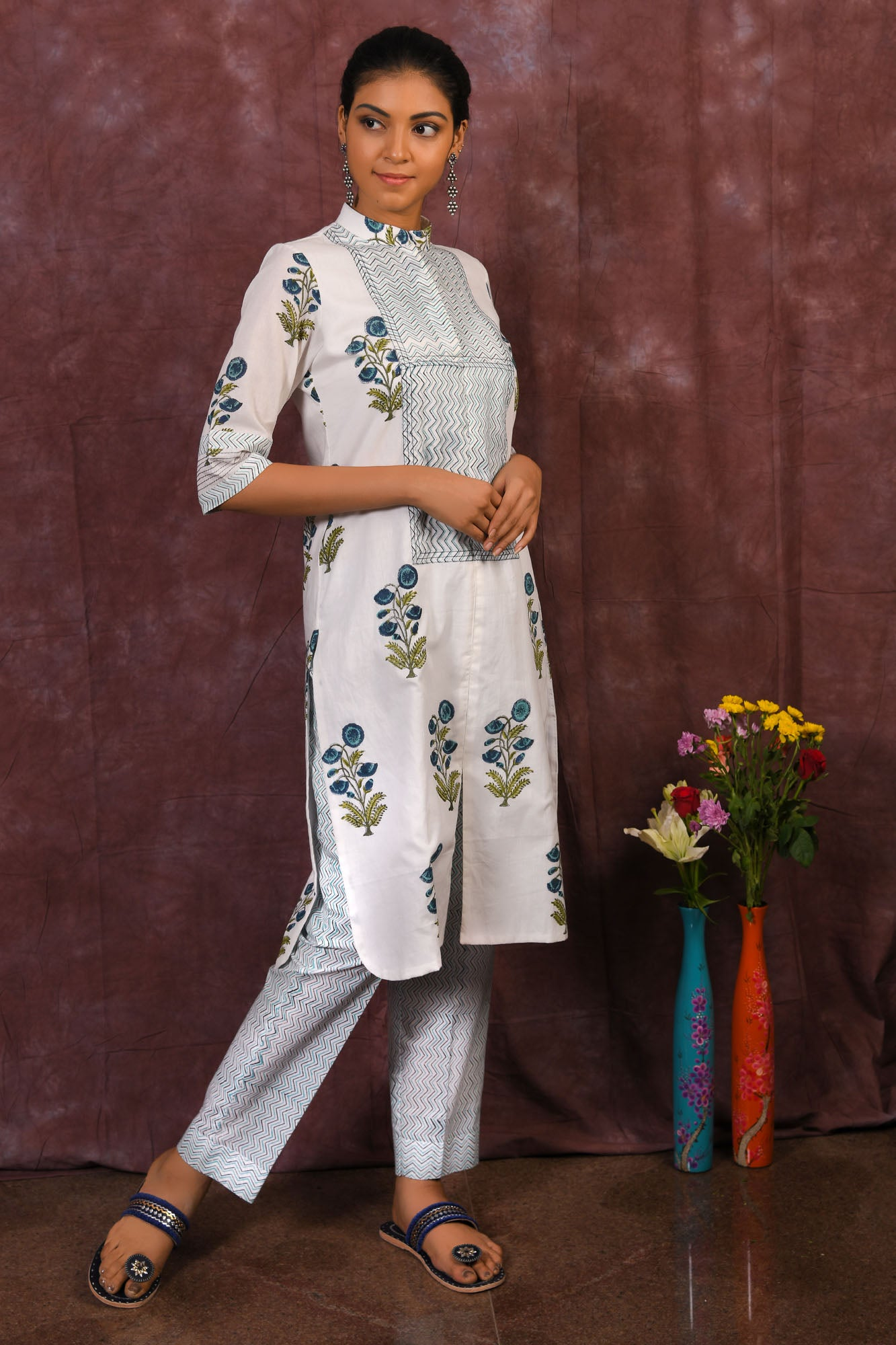 White and blue pure cotton block printed kurta with pants - EARTHICA