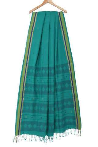 Teal blue Tangail Jamdani saree with handwoven motifs - EARTHICA