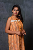 Apricot yellow ikat sleevelss shirt dress with lace detail and shirt collar - EARTHICA