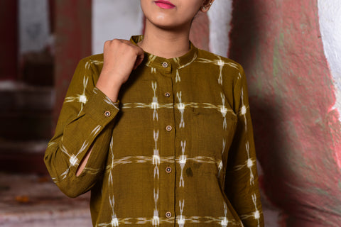 Seaweed green ikat shirt /tunic with mandarin collar - EARTHICA