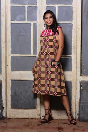 Biscuit beige checkered sleeveless ikat dress - EARTHICA