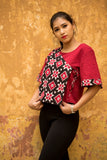 Red and black Telia Rumal double ikat flap top - EARTHICA