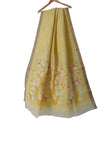 Light yellow Handloom pure cotton Jamdani saree with handwoven motifs & tussar border - EARTHICA