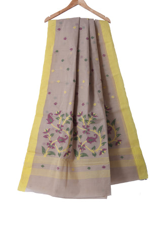 Light yellow Jamdani handloom pure cotton saree - EARTHICA
