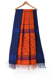 Orange handloom pure khadi jamdani saree with motifs - EARTHICA