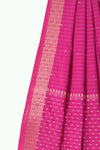 Pink handloom pure linen jamdani saree with handwoven motifs - EARTHICA