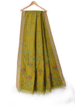 Green handloom khadi cotton saree with handwoven jamdani motifs - EARTHICA