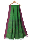Green handloom pure linen jamdani saree with handwoven motifs - EARTHICA