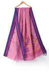 Baby pink handloom khadi cotton saree with handwoven jamdani motifs - EARTHICA
