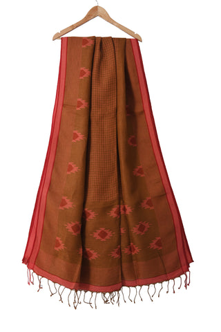 Light brown handloom pure linen jamdani saree with handwoven motifs - EARTHICA