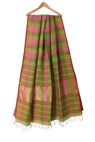 Pink and green handloom linen by linen saree with zari checks - EARTHICA