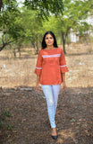 Orange cotton mangalgiri top with lace - EARTHICA