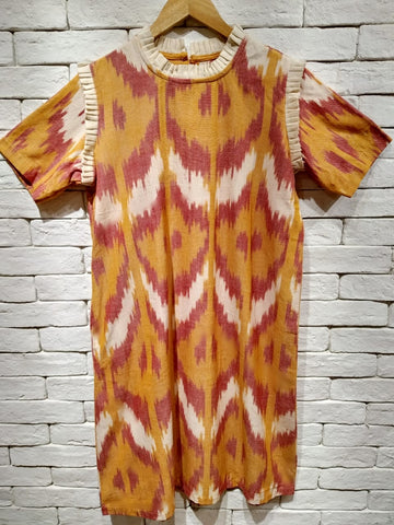 Rust and Orange Ikat Frill Tent Dress.