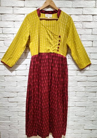Mustard Yellow and Maroon Ikat Cotton Angarakha Dress