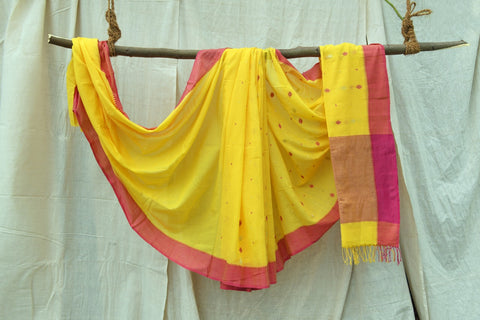 Bright Yellow / Pink  Jamdani Cotton Pure Handwoven Zari Motif  Saree with Blouse.
