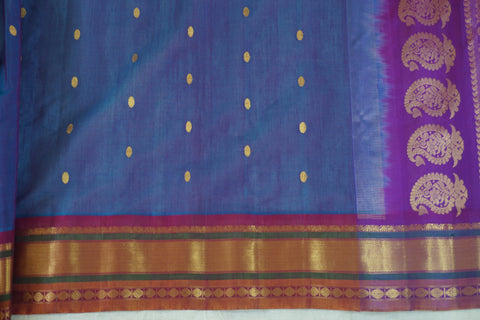 Blue and Purple Blended Handwoven Silk Cotton Gadwal Saree