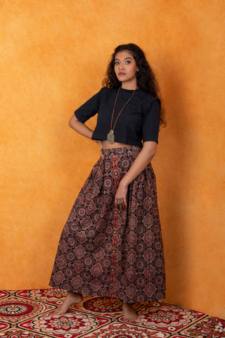 Ajrakh Midi-Skirt with box pleats and front placket.