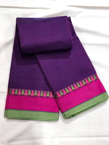 Kanchi Cotton Handwoven Saree with Multi-Color Border.