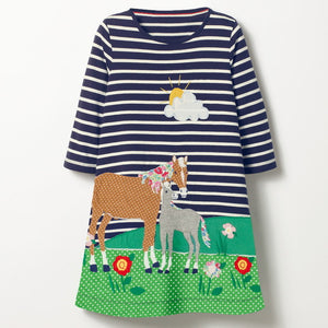 Baby and Little Girl Cotton Fancy Party Dresses For Autumn Black Navy Blue