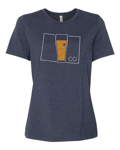 Colorado State Pint Glass - Women - Heather Navy