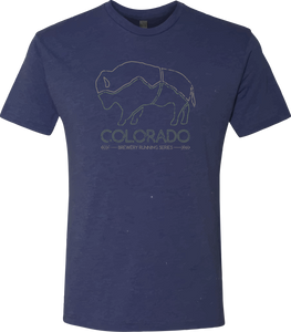 Colorado Brewery Running Series Bison - Tshirt - Vintage Navy