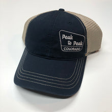 Load image into Gallery viewer, Peak to Peak Colorado - Garment-Washed Trucker Cap - Navy/Khaki