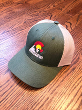Load image into Gallery viewer, Mountain Silhouette - Trucker Hat - Heather Dark Green/Silver