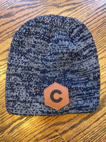 'C' Leather Patch - Marled Knit Beanie - Navy/Dark Grey