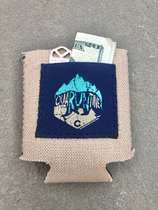 quaRUNtine Burlap Pocket Koozie