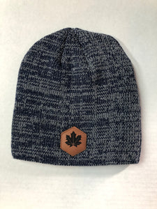 Maple Leaf Leather Patch - Marled Knit Beanie - Navy/Dark Grey