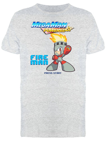 Mega Man Powered Up Fire Man Videogame Graphic Men's T-shirt