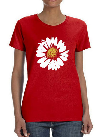Colored Stamp Style Daisy Flower Women's T-Shirt
