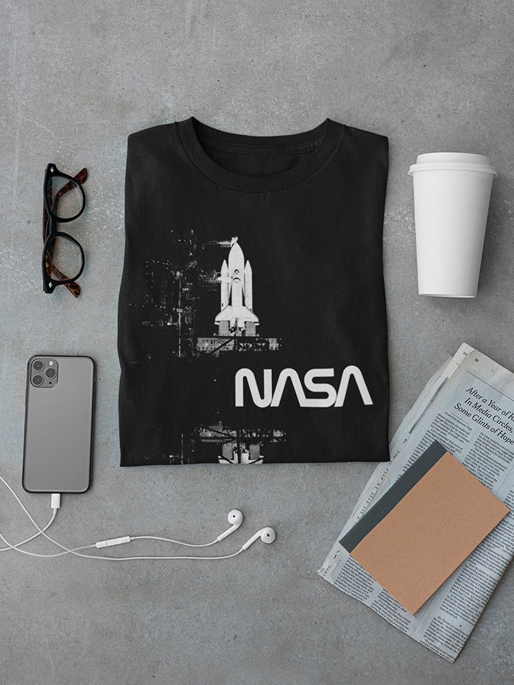 Space NASA White Mirror Rocket Men's T-shirt