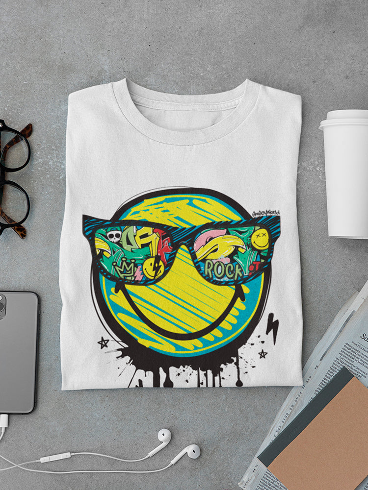 SmileyWorld Graffiti Happy Face Glasses Men's T-shirt