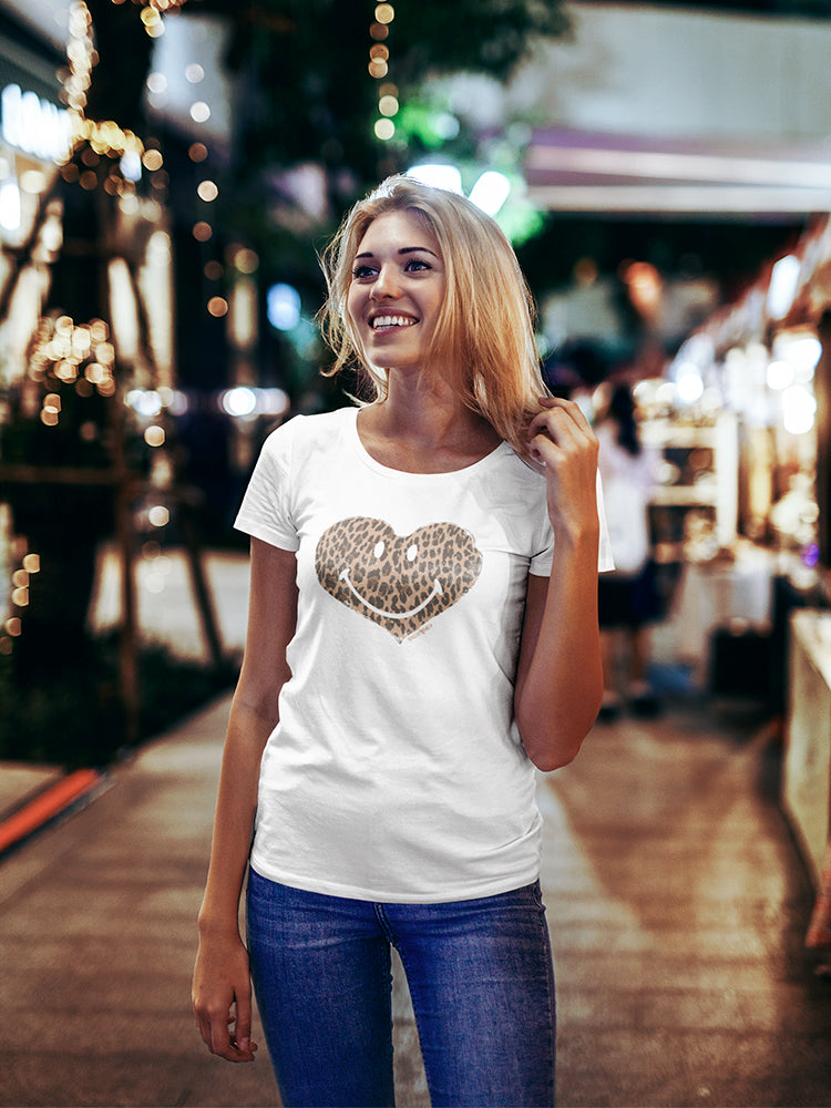 SmileyWorld Animal Print Leopard Happy Heart Women's T-shirt
