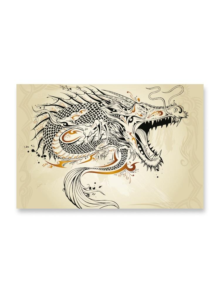 Tattoo Style Fierce Dragon Poster -Image by Shutterstock