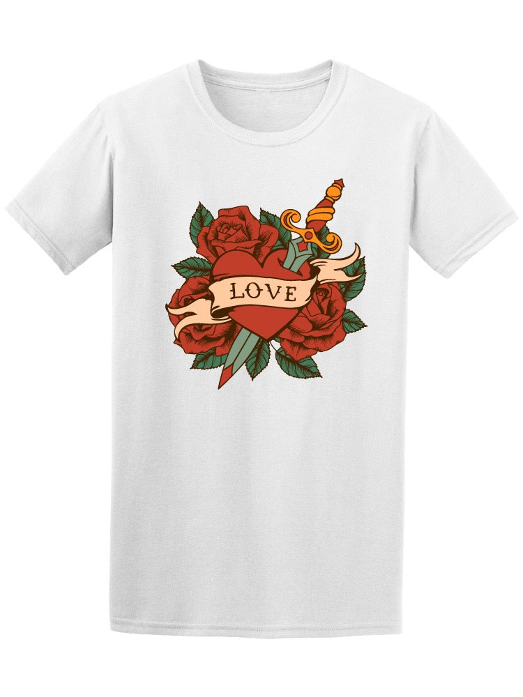Tattoo Heart With Roses & Knife Tee Men's -Image by Shutterstock
