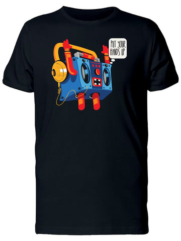 Put Your Hands Up Robot Boombox Tee Men's -Image by Shutterstock