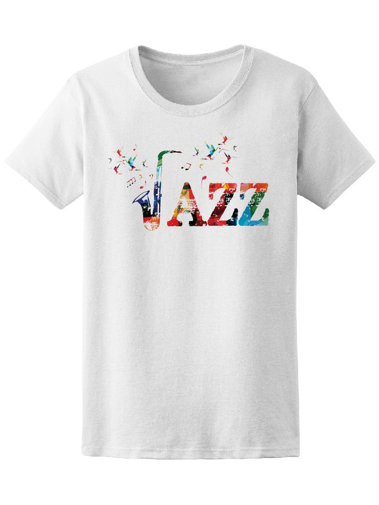 Colorful Word Jazz Saxophone Tee Women's -Image by Shutterstock