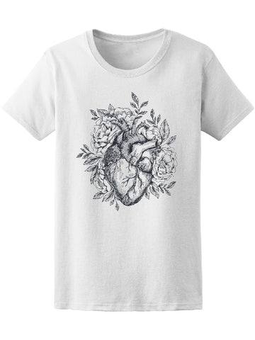 Anatomical Realistic Heart With Flowers Tee Women's -Image by Shutterstock