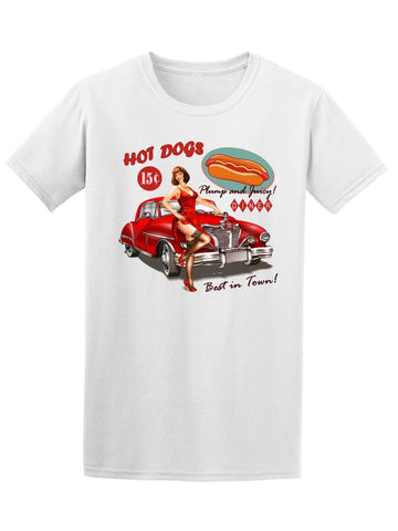 Retro Pin Up Girl Hot Dogs Tee Men's -Image by Shutterstock