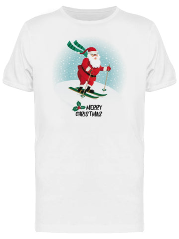 Santa Claus Skiing Doodle Tee Men's -Image by Shutterstock