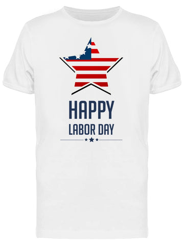Happy Labor Day, Usa Flag Star Tee Men's -Image by Shutterstock