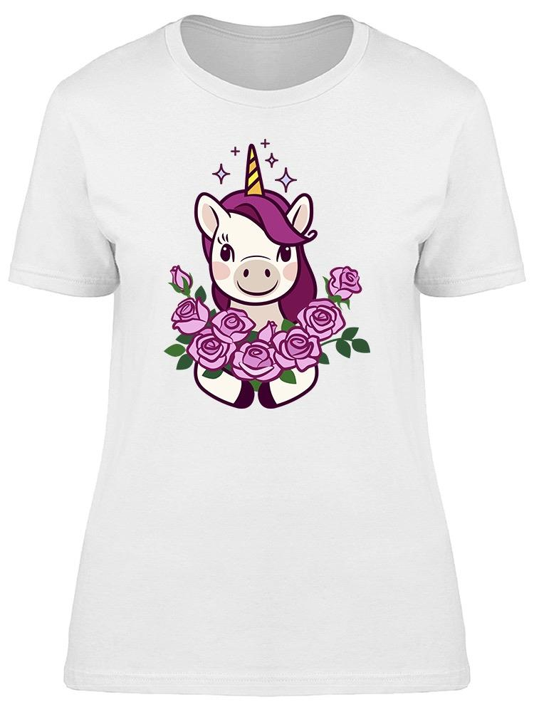 Unicorn Holding Bunch Of Roses Tee Women's -Image by Shutterstock