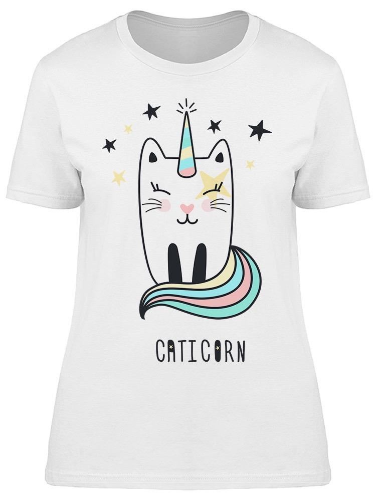 Cute Cat Unicorn Sketch Tee Women's -Image by Shutterstock