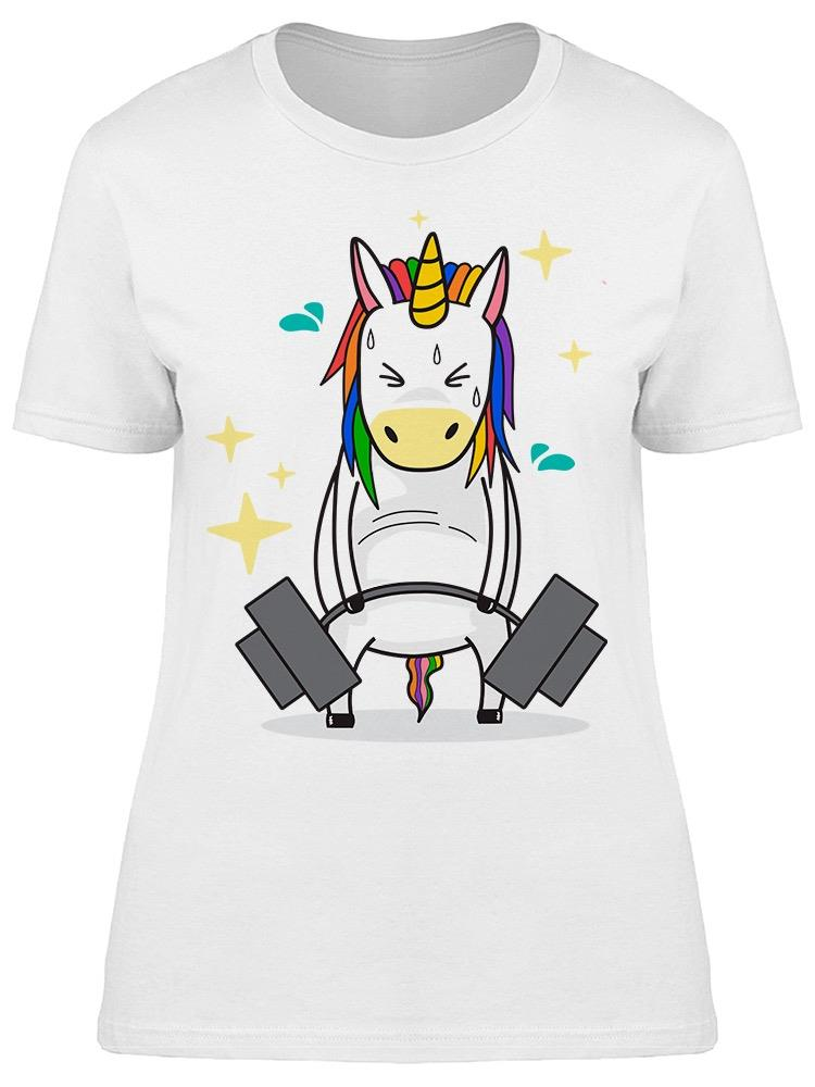 Unicorn Lifting Barbell Cartoon Tee Women's -Image by Shutterstock