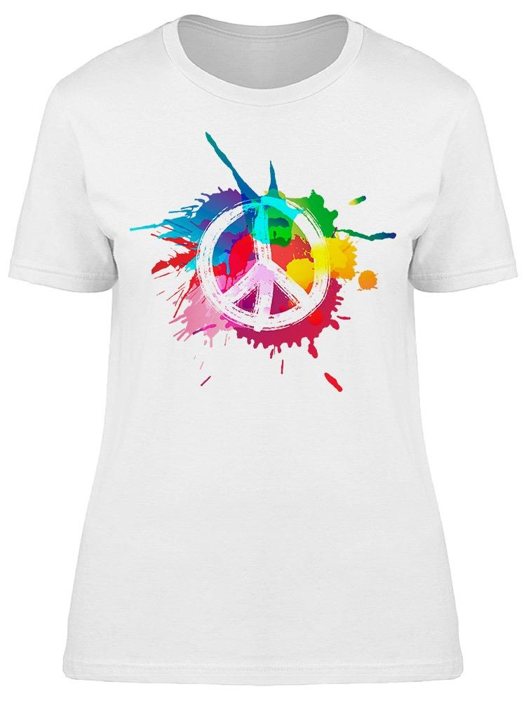 Peace Sign Colorful Tee Women's -Image by Shutterstock