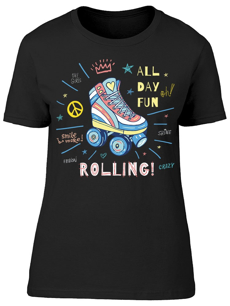 All Day Fun Rolling Lettering Tee Women's -Image by Shutterstock
