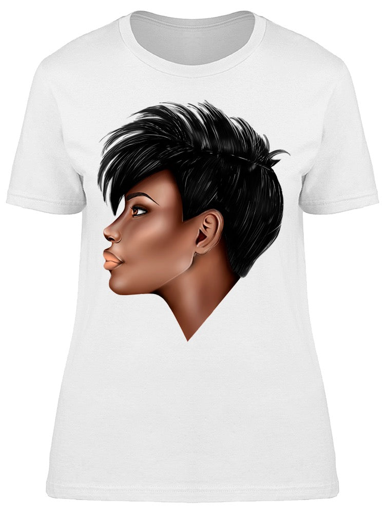Profile Portrait Girl Short Hair Tee Women's -Image by Shutterstock